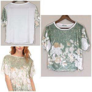 NEW! Zara Crushed Velvet Floral Front Tee. S